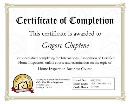 Certificate for Inspection Business Course