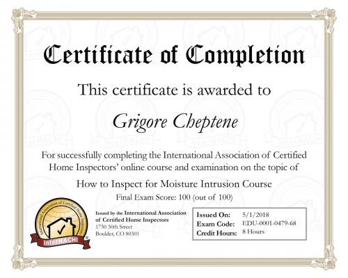 Certificate for Moisture Intrusion Course