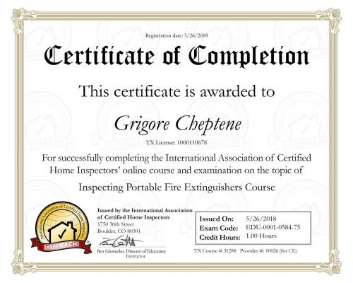 Certificate for Portable Fire Extinguishers Course