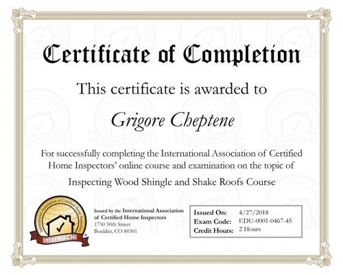 Certificate for Wood Shingles and Shake Roofs Course